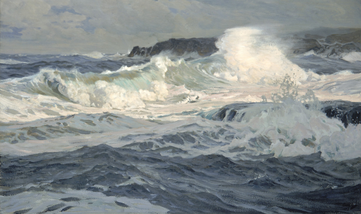 Frederick J. Waugh, Southwesterly Gale, St. Ives, 1907
